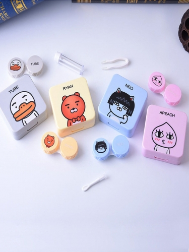 1 contact lens case cute cartoon pattern high quality case