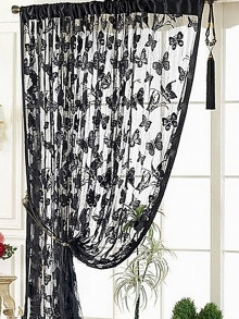 1Pc home curtain butterfly pattern solid color romantic sweet curtain decorations.