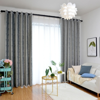 1Pc European Style Blackout Curtain Panel Solid Color Living Room Bedroom Window Drape Grey