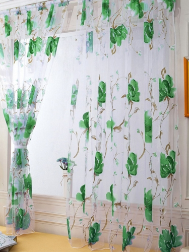 1Pc Decorative Curtain Sweet Flowers Pattern Transparent Waterproof Curatin