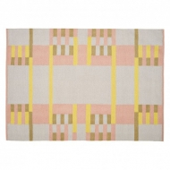 Medium pink and yellow hand woven plain wool carpet 140 x 200cm