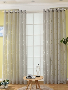 1 Piece Curtains European Simple Style Solid Color Yarn Living Room Bedroom Curtains