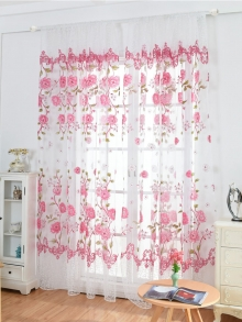 Floral curtains transparent window screen