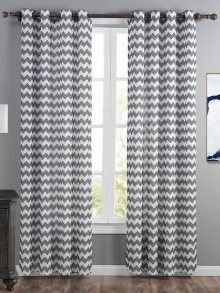 Single layer geometric striped curtains with wave pattern