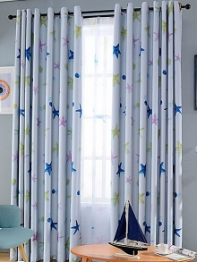 1 set of curtains cartoon starfish pattern color block curtain decorations