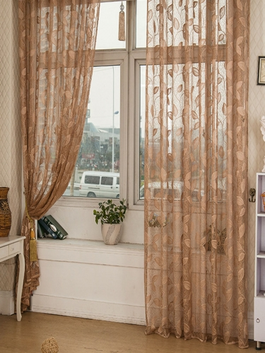 1Pc Home Window Curtain Leaves Pattern Decorative Screen