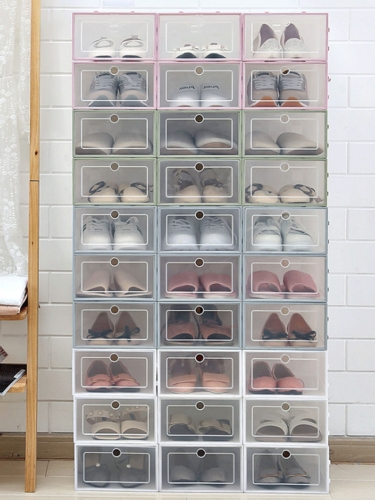 1Pc Shoes Storage Box Transparent Rectangle Shaped Shoes Container