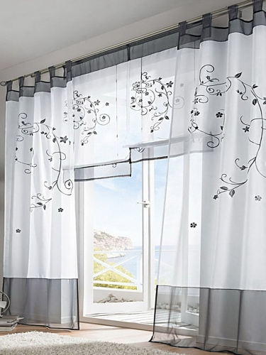1 Piece Home Drapery Embroidered Patterns Fresh Style Curtain Decorations