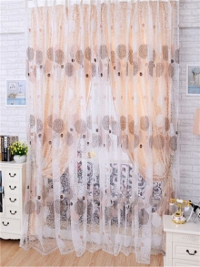 1 set of curtains fashion printing living room bedroom slim curtains