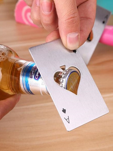 1 Pc Can Opener Creative Playing Card Shaped Bottle Opener