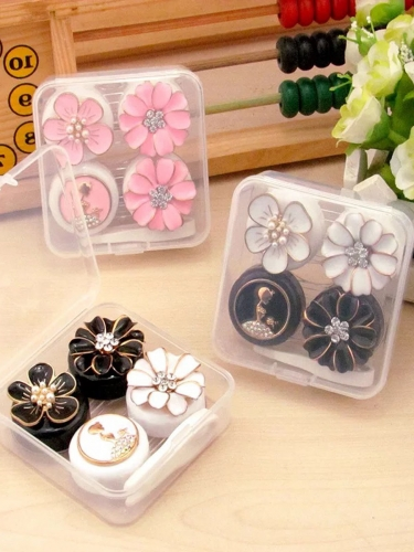 1 contact lens case, cute flower 2 pairs design storage case