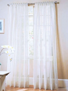 1 Piece Organza Curtains Solid Color Simple Style Blackout Curtains
