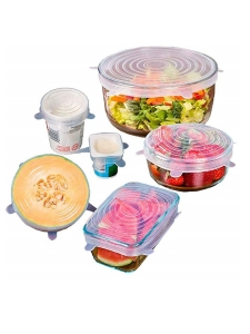 6 silicone lids in various sizes and stretchable lids for bowls, cups and pots