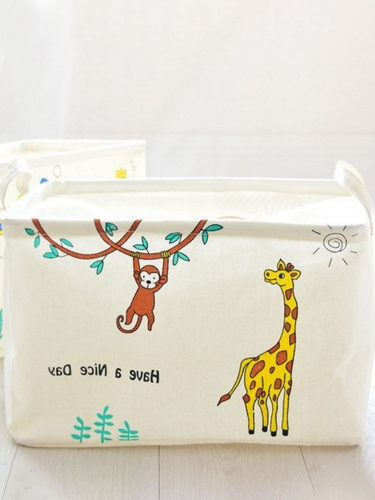 Toy Storage Box Linen Animal String Laundry Basket