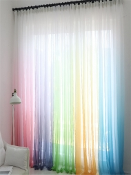 One Piece Curtains Gradient Color Thin Tulle Curtains