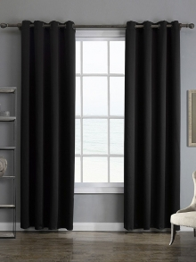 Single black lattice top curtain