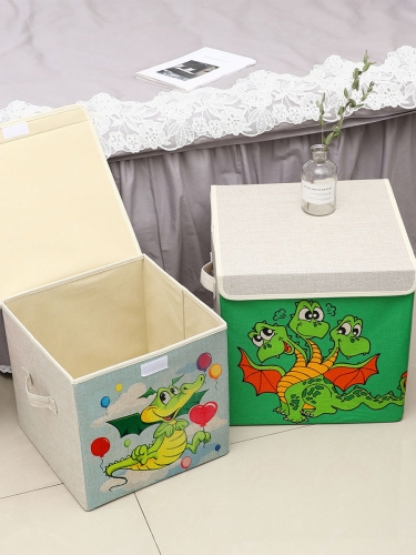 Dinosaur Pattern Storage Box Creative Folding Multipurpose Covered Home Sorting Box