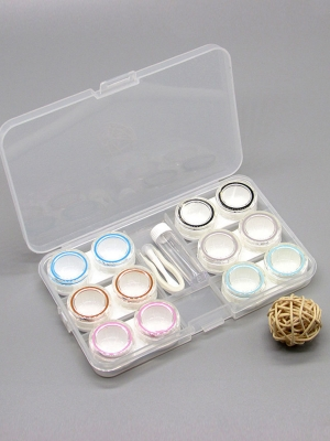 6 pairs of contact lens case with simple transparent large capacity