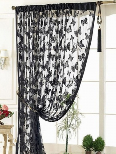 1Pc Curtain Lovely Butterfly Pattern Non-Opaque Brief Style Curtain