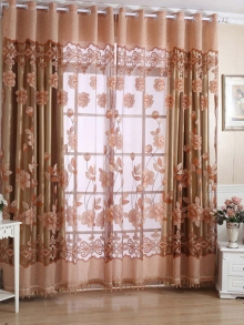 1 Piece Set of Transparent Tulle Door Window Curtains Delicate Patterned Curtain Panels
