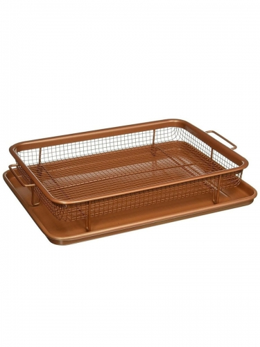2 Piece Frying Basket Set Practical Frying Basket and Drainer Tray Creative Kitchen Tools
