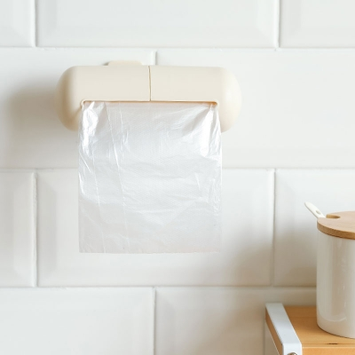 1 piece bathroom wall rack solid color wall mounted trash bag caddy.