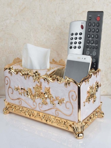 Multifunctional storage box tissue box gold plated premium European home tray hotel supplies napkins